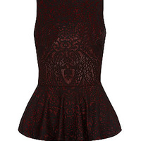Dark Red Baroque Sleeveless Peplum Top