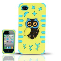 [Windowcell] Iphone 4/4s (At&t/verizon/sprint/t-mobile/cricket) Pc/sc Owl 3d Design Cover - Pcsc Owl Yellow/baby Blue