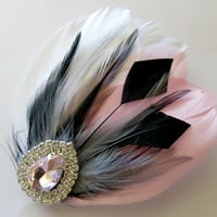 Bride Bridesmaid Feather Hair Accessory, Feather Fascinator, Bridal, Hair PIece,Grey, Blush Pink, Black, White, Feather, Hair Clip