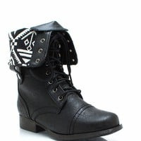 Tribal-Magic-Lace-Up-Boots BLACK - GoJane.com