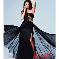 (PRE-ORDER) Mac Duggal 2014 Prom Dresses - Black & Gold Filigree Beaded Ruched One Shoulder Chiffon Gown