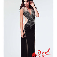 (PRE-ORDER) Mac Duggal 2014 Prom Dresses - Black Jersey & Illusion Cut Out Prom Gown