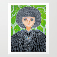 Mrs. Owl Art Print by Laura Barbosa Art