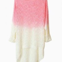 Pink Dip Dye Loose Knit Sweater