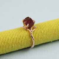Pink Gold Rough Garnet Ring