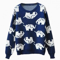 Blue & White Elephant Print Sweater