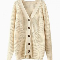 Beige Oversized Button Down Sweater