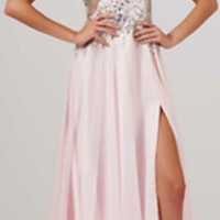 (PRE-ORDER) Mac Duggal 2014 Prom Dresses - Ice Pink Chiffon Cap Sleeve Prom Dress