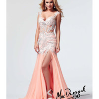 (PRE-ORDER) Mac Duggal 2014 Prom Dresses - Peach Cut Out Pleated Chiffon Prom Gown