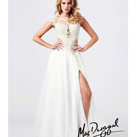(PRE-ORDER) Mac Duggal 2014 Prom Dresses - Ivory Satin & Lace Applique Prom Gown
