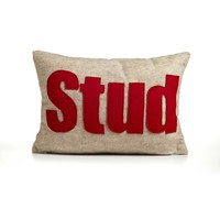 Stud Pillow - Oatmeal/Red