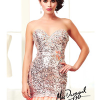 (PRE-ORDER) Mac Duggal 2014 Prom Dresses - Peach Fizz Sequin Beaded Strapless Sweetheart Trumpet Mermaid Tulle Gown