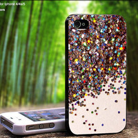 Colorful Sprinkle Glitter Beautiful Blink Design For iPhone 5 / 4 / 4S - Samsung Galaxy S3 / S4 ( Black / White case )