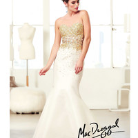 (PRE-ORDER) Mac Duggal 2014 Prom Dresses - Ivory & Gold Rhinestone Beaded Strapless Cut Out Mermaid Gown