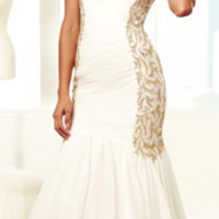 (PRE-ORDER) Mac Duggal 2014 Prom Dresses - Ivory & Gold Rhinestone Beaded & Ruched Cap Sleeve Mermaid Gown