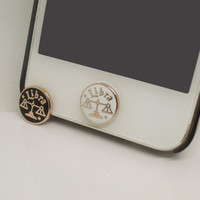 1PC Golden Constellation Libra Circle iPhone Home Button Sticker Charm for iPhone 4,4s,4g,5,5c Cell Phone Charm Lover Gift Birthday Gift