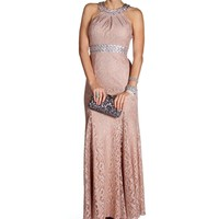Lizzie- Mauve/Silver High Neck Long Dress