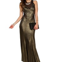 Goldi- Gold/Black Mesh Glitter Long Prom Dress