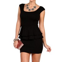 Black Textured Peplum Dress