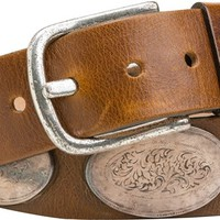 STREETS AHEAD BROWN LEATHER METAL EMBOSSED BELT