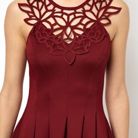 ASOS PETITE Exclusive Skater Dress With Laser Cut Neck Trim