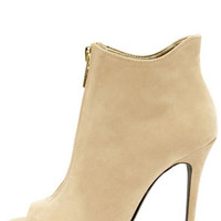 Dollhouse Strive Nude Suede High Heel Booties