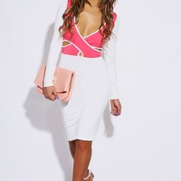 Pink/White Cut Out Wrap Dress