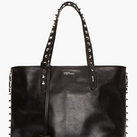 BLACK STUDDED LEATHER ZIP TOTE