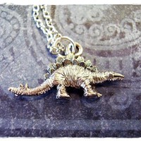 Silver Stegosaurus Dinosaur Necklace - Antique Pewter Stegosaurus Charm on a Delicate 18 Inch Silver Plated Cable Chain