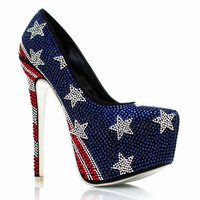Stars-And-Stripes-Embellished-Pumps REDBLUE - GoJane.com