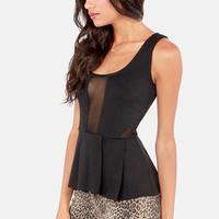 BB Dakota by Jack Violet Black Cutout Peplum Top