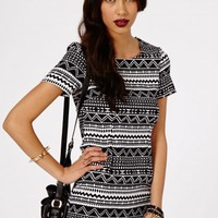 Missguided - Namita Tribal Asymmetric Shift Dress