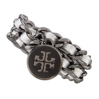 Metallic Leather & Chain Bracelet, Silver
