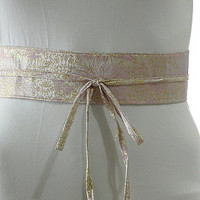 Pink Sash Belt Obi Waist Cincher - Pink Gold Brocade Sash Belt Obi Waist Cincher - Sashes for Weddings Evening Cocktail Formal Party