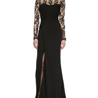 Long Sleeve Embroidered Bodice Gown