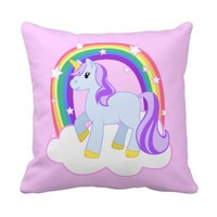 Cute Pink Unicorn with Sparkly Rainbow