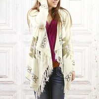 Ivory Fringe Tribal Cardigan Sweater