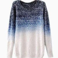 Tie-Dyeing Vintage Sweater In Blue - Choies.com
