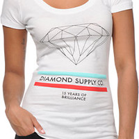 Diamond Supply Co Girls 15 Years Of Brilliance White Scoop Neck Tee Shirt