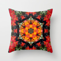 Orchid mandala/kaleidoscope - warm reds & oranges IV Throw Pillow by RVJ Designs
