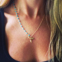 Love Bites Shark Tooth Necklace, Gold Shark Tooth Necklace, Sleeping Beauty Necklace
