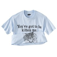 "Men's ""You've Got To Be Kitten me"" Flip Up Cat Graphic Tee - Light Blue"