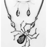 Hematite Tone / Black Diamond Glass / Lead&nickel Compliant / Halloween / Spider Pendant / Necklace & Fish Hook Earring