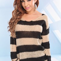 BLACK BEIGE STRIPED KNIT MOHAIR SWEATER TOP