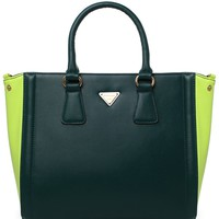 Contrast Two-Tone Tote Bag in Green