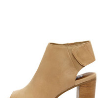 Steve Madden Nonstp Natural Leather Peep Toe Booties