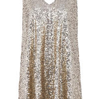 ROMWE | ROMWE Bowknot Embellished Sleeveless Gold Sequined Dress, The Latest Street Fashion