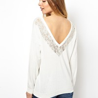 ASOS Sweater With Lace Detail V Back