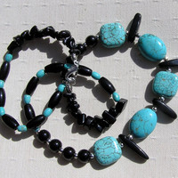 """Turquoise & Black Onyx Crystal Gemstone Necklace - """"Summer Seas"""" - Special Offer Price"""