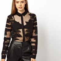 ASOS Premium Blouse with Graphic Applique